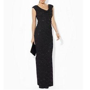 ⭐️Stunning RL Black Lace Sequin Evening Gown 12P